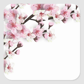 Cherry Blossom Pink White Wedding Favor Stickers