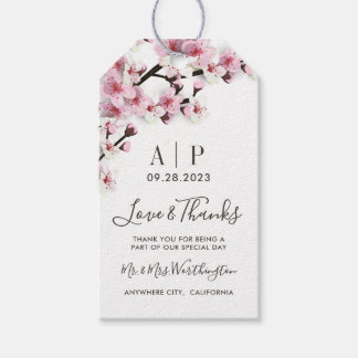 Cherry Blossom Pink White Wedding Favor Tags