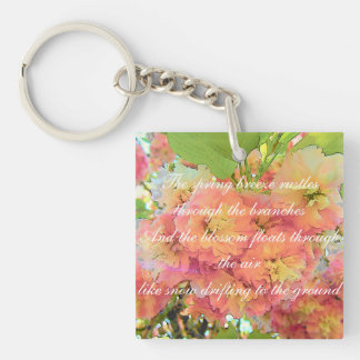 Cherry blossom poem Double-Sided square acrylic key ring