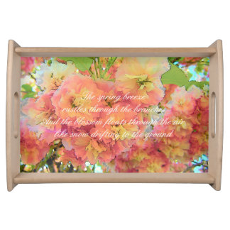 Cherry blossom poem serving tray