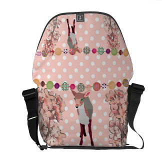 Cherry Blossom Pretty Pink Fawn Pok-a-dot Messenge Courier Bag