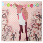 Cherry Blossom Pretty Pink Fawn  Tile