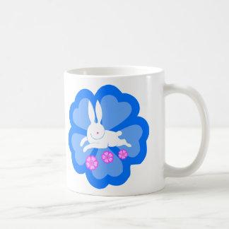 Cherry blossom rabbit (blue) basic white mug
