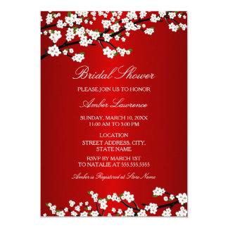 "Cherry Blossom Red Bridal Shower Invitation 5"" X 7"" Invitation Card"