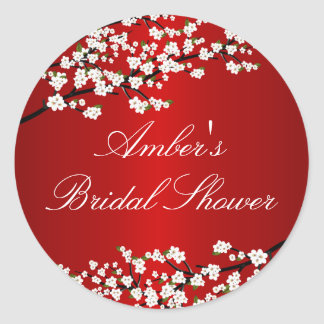 Cherry Blossom Red Bridal Shower Sticker