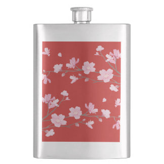 Cherry Blossom - Red Hip Flask