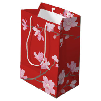 Cherry Blossom - Red Medium Gift Bag