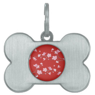 Cherry Blossom - Red Pet ID Tag