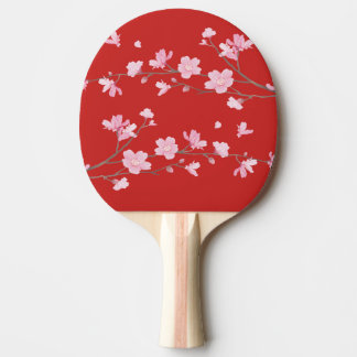 Cherry Blossom - Red Ping Pong Paddle