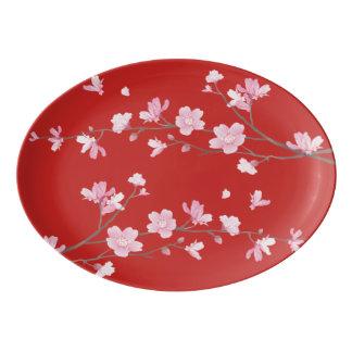 Cherry Blossom - Red Porcelain Serving Platter