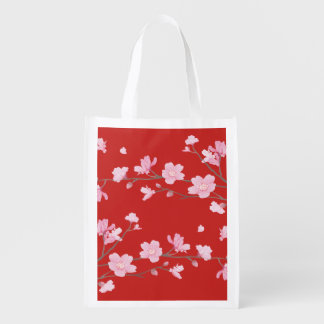 Cherry Blossom - Red Reusable Grocery Bag