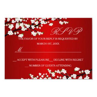 Cherry Blossom Red RSVP 9 Cm X 13 Cm Invitation Card