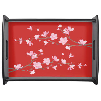 Cherry Blossom - Red Serving Tray