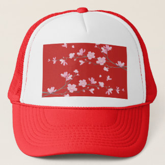 Cherry Blossom - Red Trucker Hat