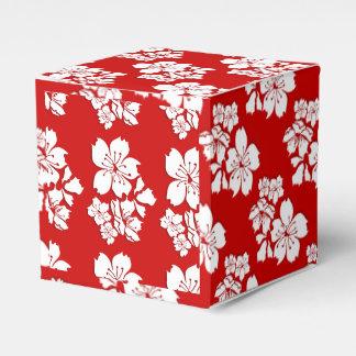 Cherry blossom red white japanese wedding favour box