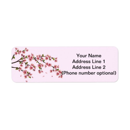 cherry blossom return address label