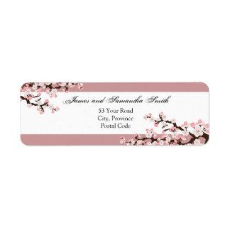 Cherry Blossom Return Address Label - Dusty Rose