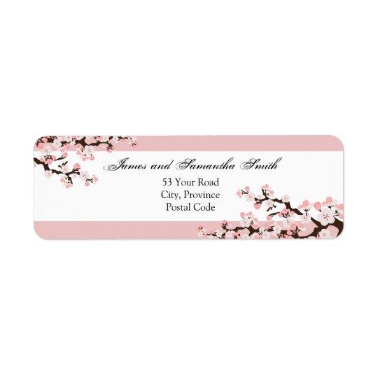 Cherry Blossom Return Address Label - Pink White
