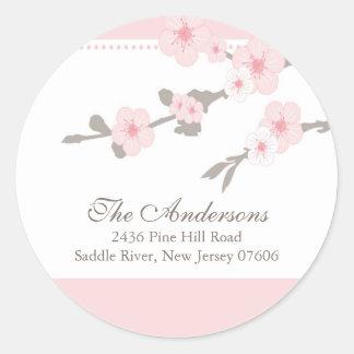 Cherry Blossom Return Address Wedding Sticker