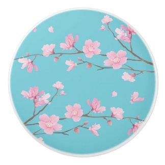 Cherry Blossom - Robin Egg Blue Ceramic Knob