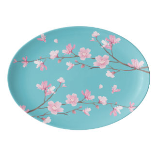 Cherry Blossom - Robin egg blue Porcelain Serving Platter
