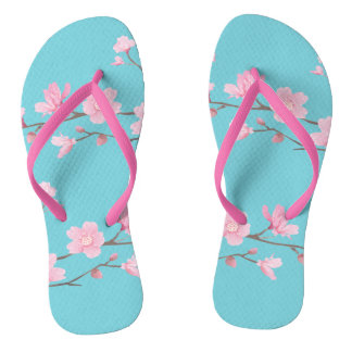 Cherry Blossom - Robin egg blue Thongs