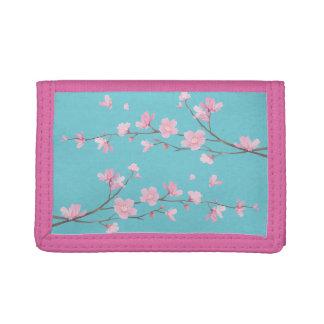 Cherry Blossom - Robin egg blue Trifold Wallet