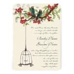 Cherry Blossom Romantic Birds & Birdcage Weddings Personalized Announcements