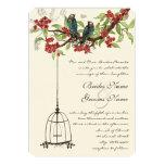 Cherry Blossom Romantic Birds & Birdcage Weddings Personalized Announcements