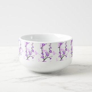 Cherry blossom,royal purple,oriental pattern,flora soup mug