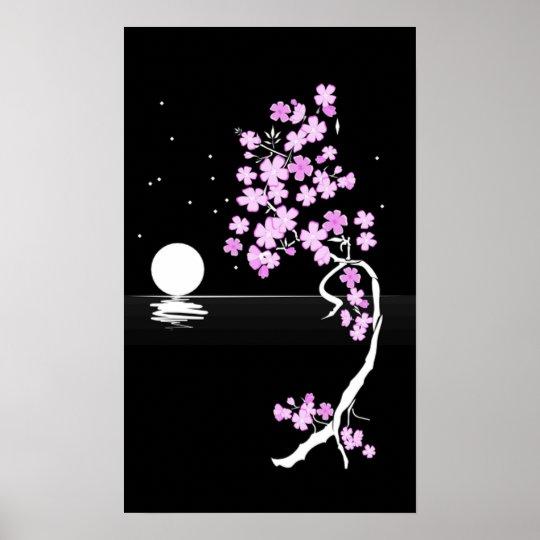 Cherry blossom (Sakura) at night Print