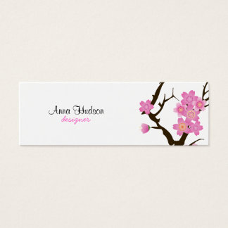 Cherry Blossom, Sakura Flowers - Pink Brown White Mini Business Card