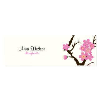 Cherry Blossom, Sakura Flowers - Pink White Brown Pack Of Skinny Business Cards