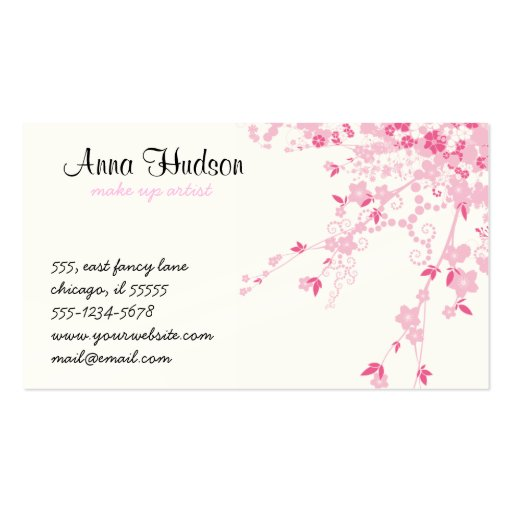 Cherry Blossom, Sakura Flowers - Pink White Business Card Templates