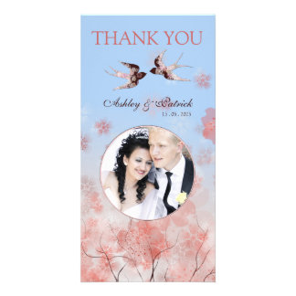 Cherry Blossom Sakura & Love Birds Thank You Photo Personalised Photo Card