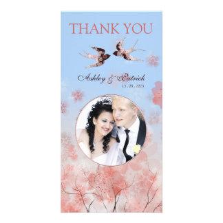 Cherry Blossom Sakura & Love Birds Thank You Photo Personalised Photo Card