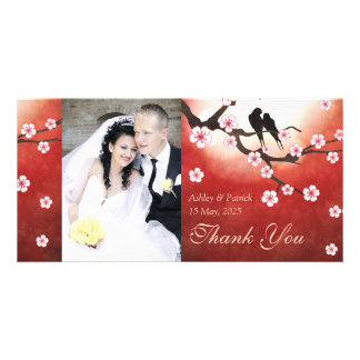 Cherry Blossom Sakura & Love Birds Thank You Photo Photo Greeting Card