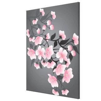 Cherry blossom, sakura on black background canvas prints