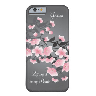 Cherry blossom (Sakura) on gray Barely There iPhone 6 Case