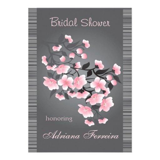 Cherry blossom (Sakura) on gray Bridal Shower Card