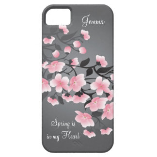 Cherry blossom (Sakura) on gray iPhone 5 Case