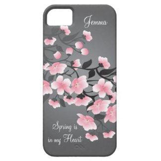 Cherry blossom (Sakura) on gray iPhone 5 Cover