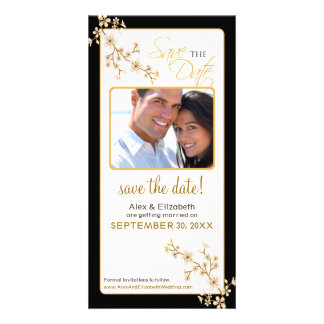 Cherry Blossom Save the Date Photocard (gold/black Photo Cards