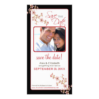 Cherry Blossom Save the Date Photocard (red/black) Custom Photo Card
