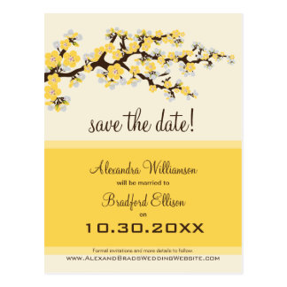 Cherry Blossom Save the Date Postcard (lemon)