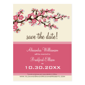 Cherry Blossom Save the Date Postcard (pink)