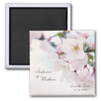 Cherry Blossom Save the Date Square Magnet