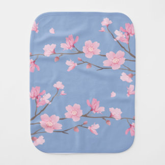 Cherry Blossom - Serenity Blue Burp Cloth