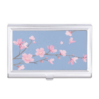 Cherry Blossom - Serenity Blue Business Card Holder