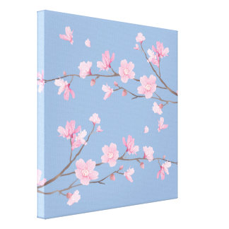 Cherry Blossom - Serenity Blue Canvas Print